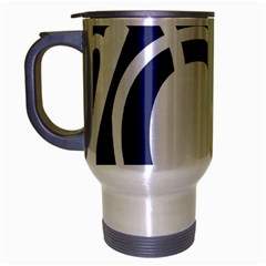 Garamond Blue White Wave Chevron Travel Mug (silver Gray)