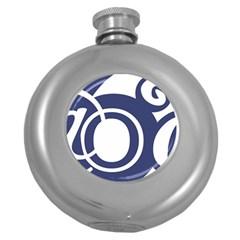 Garamond Blue White Wave Chevron Round Hip Flask (5 Oz)