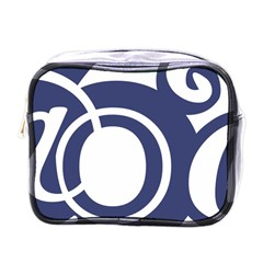 Garamond Blue White Wave Chevron Mini Toiletries Bags
