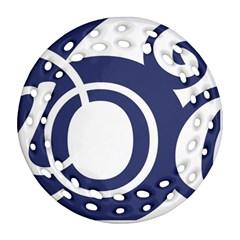 Garamond Blue White Wave Chevron Ornament (round Filigree)