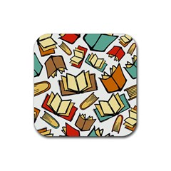 Friends Library Lobby Book Sale Rubber Square Coaster (4 Pack)