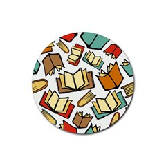 Friends Library Lobby Book Sale Rubber Round Coaster (4 Pack)