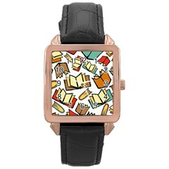 Friends Library Lobby Book Sale Rose Gold Leather Watch