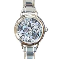 Ghosts Blue Sinister Helloween Face Mask Round Italian Charm Watch