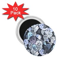 Ghosts Blue Sinister Helloween Face Mask 1 75  Magnets (10 Pack)