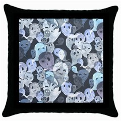 Ghosts Blue Sinister Helloween Face Mask Throw Pillow Case (black)