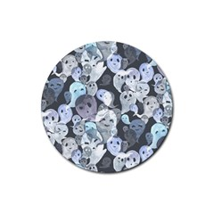 Ghosts Blue Sinister Helloween Face Mask Rubber Round Coaster (4 Pack)
