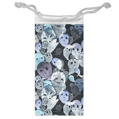 Ghosts Blue Sinister Helloween Face Mask Jewelry Bag