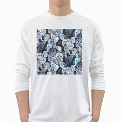 Ghosts Blue Sinister Helloween Face Mask White Long Sleeve T Shirts
