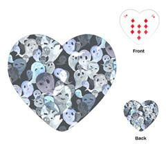 Ghosts Blue Sinister Helloween Face Mask Playing Cards (heart)