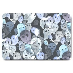Ghosts Blue Sinister Helloween Face Mask Large Doormat