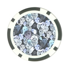 Ghosts Blue Sinister Helloween Face Mask Poker Chip Card Guard
