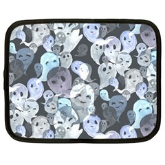 Ghosts Blue Sinister Helloween Face Mask Netbook Case (large)