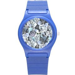 Ghosts Blue Sinister Helloween Face Mask Round Plastic Sport Watch (s)