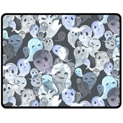 Ghosts Blue Sinister Helloween Face Mask Double Sided Fleece Blanket (medium)