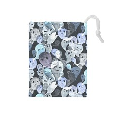 Ghosts Blue Sinister Helloween Face Mask Drawstring Pouches (medium)