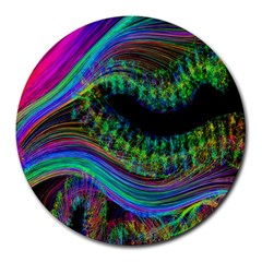 Aurora Wave Colorful Space Line Light Neon Visual Cortex Plate Round Mousepads