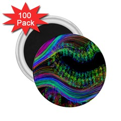 Aurora Wave Colorful Space Line Light Neon Visual Cortex Plate 2 25  Magnets (100 Pack)