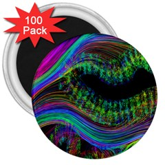 Aurora Wave Colorful Space Line Light Neon Visual Cortex Plate 3  Magnets (100 Pack)