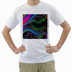 Aurora Wave Colorful Space Line Light Neon Visual Cortex Plate Men s T Shirt (white) (two Sided)