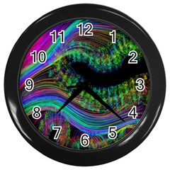 Aurora Wave Colorful Space Line Light Neon Visual Cortex Plate Wall Clocks (black)