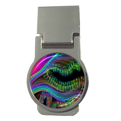 Aurora Wave Colorful Space Line Light Neon Visual Cortex Plate Money Clips (round)