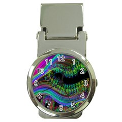 Aurora Wave Colorful Space Line Light Neon Visual Cortex Plate Money Clip Watches