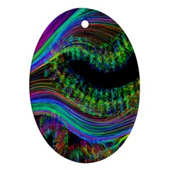 Aurora Wave Colorful Space Line Light Neon Visual Cortex Plate Oval Ornament (two Sides)