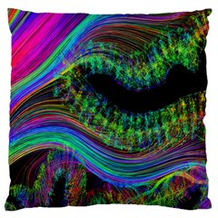 Aurora Wave Colorful Space Line Light Neon Visual Cortex Plate Large Cushion Case (one Side)