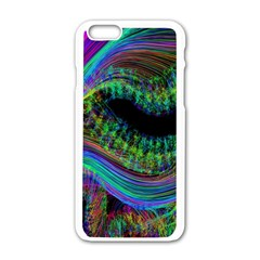 Aurora Wave Colorful Space Line Light Neon Visual Cortex Plate Apple Iphone 6/6s White Enamel Case