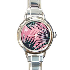 Graciela Detail Petticoat Palm Pink Green Round Italian Charm Watch