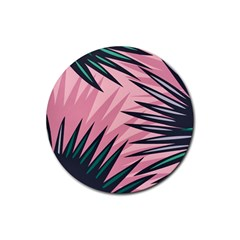Graciela Detail Petticoat Palm Pink Green Rubber Coaster (round)