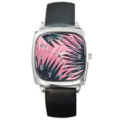 Graciela Detail Petticoat Palm Pink Green Square Metal Watch