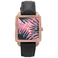 Graciela Detail Petticoat Palm Pink Green Rose Gold Leather Watch
