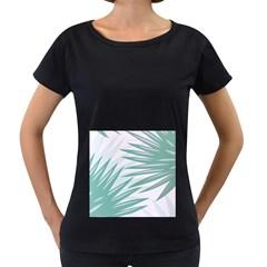 Graciela Detail Petticoat Palm Pink Green Gray Women s Loose Fit T Shirt (black)