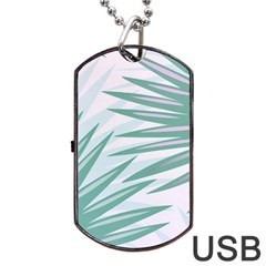 Graciela Detail Petticoat Palm Pink Green Gray Dog Tag Usb Flash (two Sides)