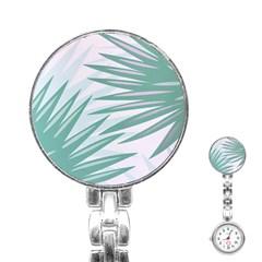 Graciela Detail Petticoat Palm Pink Green Gray Stainless Steel Nurses Watch