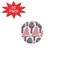 Grapes Watermelon Fruit Patterns Bouffants Broken Hearts 1  Mini Buttons (10 Pack)