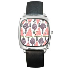 Grapes Watermelon Fruit Patterns Bouffants Broken Hearts Square Metal Watch