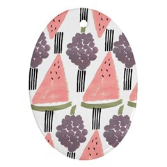 Grapes Watermelon Fruit Patterns Bouffants Broken Hearts Oval Ornament (two Sides)