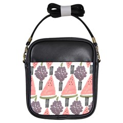 Grapes Watermelon Fruit Patterns Bouffants Broken Hearts Girls Sling Bags