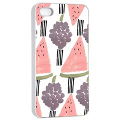 Grapes Watermelon Fruit Patterns Bouffants Broken Hearts Apple Iphone 4/4s Seamless Case (white)