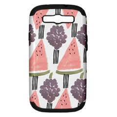 Grapes Watermelon Fruit Patterns Bouffants Broken Hearts Samsung Galaxy S Iii Hardshell Case (pc+silicone)