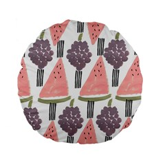 Grapes Watermelon Fruit Patterns Bouffants Broken Hearts Standard 15  Premium Flano Round Cushions