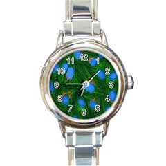 Fluorescence Microscopy Green Blue Round Italian Charm Watch