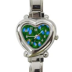Fluorescence Microscopy Green Blue Heart Italian Charm Watch