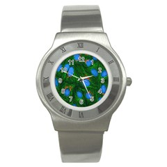 Fluorescence Microscopy Green Blue Stainless Steel Watch