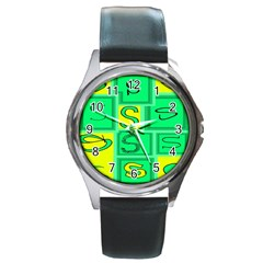 Letter Huruf S Sign Green Yellow Round Metal Watch