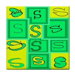 Letter Huruf S Sign Green Yellow Tile Coasters