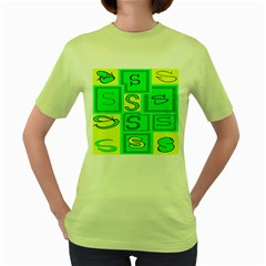 Letter Huruf S Sign Green Yellow Women s Green T Shirt